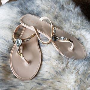 Gemstone jelly sandals